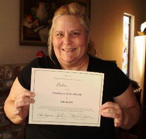 A BIG CONGRATS to Debra Caregiver of the Month - Jan 2014 Hired Hands Homecare Santa Rosa