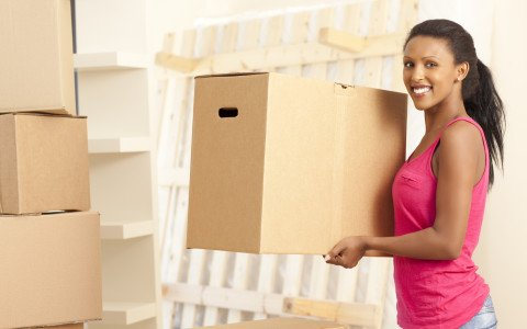 Women with moving box